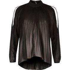 Black long sleeve plisse cold shoulder blouse