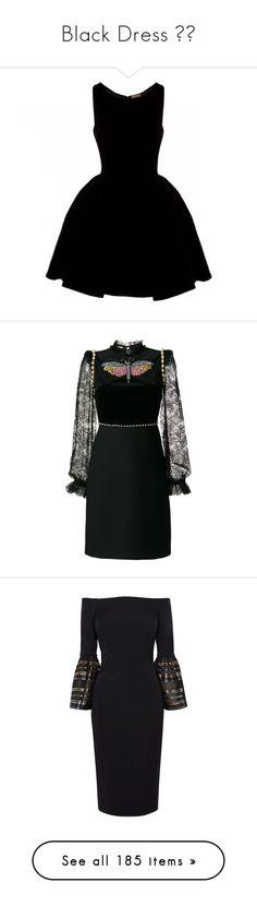 """Black Dress ◾️"" by ngkhhuynstyle ❤ liked on Polyvore featuring dresses, vestidos, short dresses, black, alaia dress, short full skirt dress, full skirt mini dress, short velvet dress, velvet dress and long floral dresses"