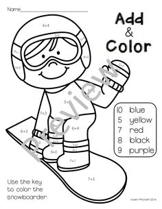 Color by Teen Numbers Winter Sports Teen numbers