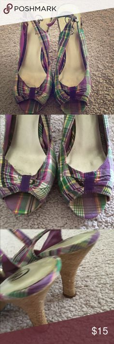 Beautiful candies heels 😍😍 I worn three or four times still in great excellent condition.match with every color of outfit easily very comfortable about 4 inches cork heel😬😃☺️😍 Candie's Shoes Heels