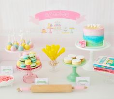 Baking party dessert table