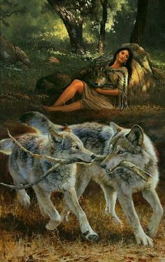 Native American Wolf, Native American Paintings, Native American Pictures, Indian Pictures, American Indian Art, Wolf Images, Wolf Pictures, Native American Spirituality, Wolves And Women