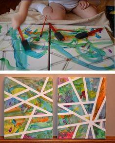 Ett roligt och smart sätt att få en snygg och proffsig tavla är att tejppa målartejp över duken innan man målar. Nu kan man gå loss med fä...