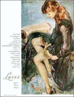 Laros hosiery ad illustrated by La Gatta, Harper's Bazaar, March 1951