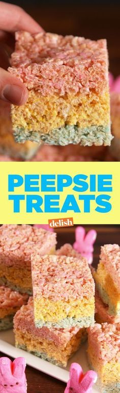 "easter / colorful rice krispie treats using peeps, ""peppies treats"". easter / colorful rice krispie treats using peeps, ""peppies treats"". Desserts Ostern, Köstliche Desserts, Delicious Desserts, Dessert Recipes, Healthy Desserts, Rice Krispies, Rice Krispie Treats, No Bake Treats, Yummy Treats"