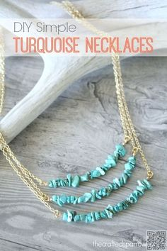 33. #Triple Turquoise #Chain - 39 Fabulous Diy #Necklaces That Will Rock Your…
