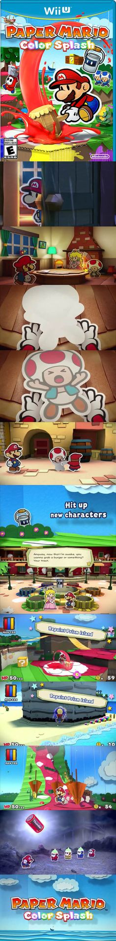 Paper Mario Color Splash is a great edition to the Mario family. Super Mario World, Super Mario Bros, Wii U, Mario G, Paper Mario Color Splash, Gamer News, Nintendo, Loch Ness Monster, Classic Video Games