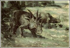 Styracosaurus | Zdeněk Burian (1905-1981) | Prehistoric Animals (1960)