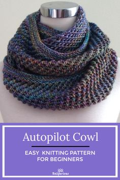 Autopilot Cowl - Easy Knitting Pattern For Beginners , autopilot-motorhaube - einfaches strickmuster für anfänger , capot de pilote automatique - modèle de tricot facile pour les débutants Easy Knitting Patterns, Easy Knitting Projects, Knitting For Beginners, Free Knitting, Knitting Needles, Knitting Ideas, Start Knitting, Infinity Scarf Knitting Pattern, Knitting Scarves
