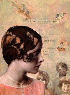 Chickadee  vintage woman original  mixed media painting by MaudstarrArt..aka Canadian artist/painter heather murray