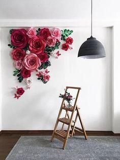 Wir sind sicher, dass dieses Papier Blume Hintergrund (eigentlich eine perfekte Alternative zu einer Hochzeit Bogen) einfach schön ist! Diese hängen Papier Blumen Blätter Anordnung mit Papier und Papier Schmetterlinge völlig baut eine moderne und schicke Gefühl insgesamt. Dieses Papier-Blume-Set von 19 Oversized Papierblumen + 8 Papierblättern + 8 Monstera Blätter + 8 Schmetterlinge erstreckt sich auf rund 60 W:60 h / / 150 cm: 150 cm Es beinhaltet: •5 //13cm = 3 Ho...