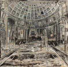 Daniela Gullotta, Pantheon I Architectural Features, Architectural Drawings, High Art, Russian Art, Urban Landscape, Contemporary Paintings, Beautiful Paintings, Art And Architecture, Art Oil