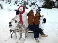 The happy snow couple. #Snowman #CoopSports
