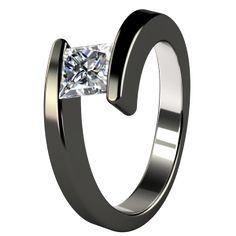 Etoile Black Titanium Engagement Ring
