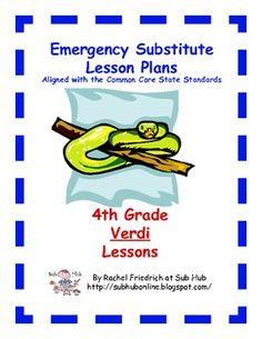$5. 4th Grade CCSS Emergency Sub Plans from Sub Hub