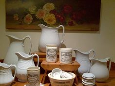 Ironstone Pitchers mix well with vintage marmalade jars