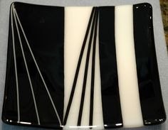 black and white fused glass plate