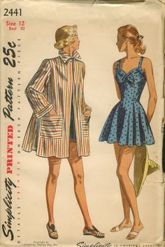 Simplicity 2441 ©1947 One-Piece Bathing Suit and Beach Coat