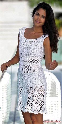 Fabulous Crochet a Little Black Crochet Dress Ideas. Georgeous Crochet a Little Black Crochet Dress Ideas. Crochet Bodycon Dresses, Black Crochet Dress, Crochet Skirts, Crochet Blouse, Crochet Clothes, Knit Dress, Moda Crochet, Crochet Lace, White Dresses For Women