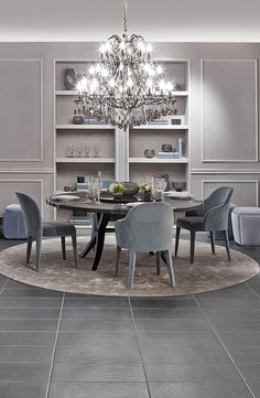 Cool elegance with cream and blue by Fendi Casa. Brunello table and Audrey armchairs and to give it a spark Crystal Palais Royal Chandelier. Luxury Dining Room, Dining Room Design, Luxury Living, Dining Room Table, Dining Rooms, Classic Interior, Luxury Interior Design, Modern Interior, Interior Decorating