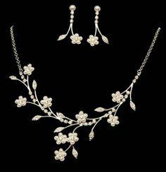Bridal Wedding Jewelry Set Crystal Rhinestone Pearl Floral Vine