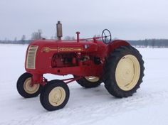 Our 1950 Cockshutt tractor in the snow.