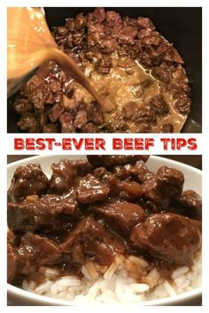BEST-EVER BEEF TIPS- Tender beef cooked in a deliciously rich gravy, served over rice, mashed potatoes or egg noodles – a satisfying, filling meal the whole family will love. Simple to make comfort food that's easy to adapt to your taste. Beef Dishes, Food Dishes, Main Dishes, Meat Dish, Cooker Recipes, Crockpot Recipes, Crock Pot Beef Tips, Beef Tips Slow Cooker, Beef And Noodles Crockpot