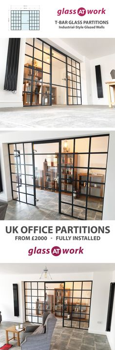 Typical lead-time 3 weeks and installed UK wide. One of our projects from March A factory warehouse style glass partition wall with black frame. This system is a fantastic cost effective alternative to traditional steel framed internal windows. Industrial Interior Design, Industrial Interiors, Interior Design Living Room, Living Room Designs, Apartamento Loft Industrial, Glass Partition Wall, Glazed Walls, The Ranch, Interior And Exterior