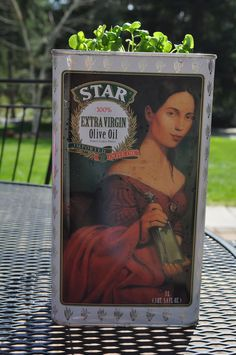 We love this idea! Use your old Star Olive Oil tin as a planter for your herbs!