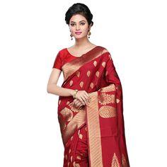 #Red Art #Banarasi #SilkSaree with Blouse