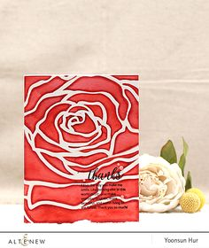 RejoicingCrafts: Thanks card with the new Altenew Mega Rose stencil. #altenew #handmade #card #rose #flower #stamping #thanks