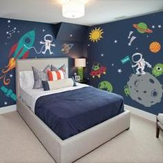 Outer Space Wall Decals by Simple Shapes® Made from our premium removable matte vinyl. Turn your child's room into fun filled outer space experience! [Size] Overall Size (approx): 160 Kids Wall Decals, Wall Stickers, Kids Room Design, Boy Room, Child's Room, Bedroom Themes, Bedroom Ideas, Kid Spaces, Simple Shapes