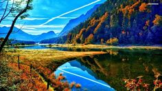 Autumn Mountain - River, Mountain, Field, Autumn