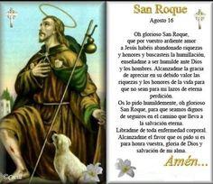 Catholic Prayers, Catholic Prayer For Healing, Prayers For Healing, Catholic Saints, Roman Catholic, Birthday In Heaven Quotes, Spanish Prayers, San Rocco, Giving Thanks To God