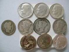 10 Coins A Collection of American US Dime Coins by lizystuff, $29.99