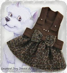 Fashion Printed Leopard Dog Dress S M Brown by SophiesPetCloset, $45.00