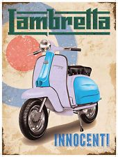 This Lambretta Scooter Mod Bullseye Metal Sign features vintage distressed Italian motorcycle graphics over a retro target. Vintage garage sign is made of 24 gauge steel. Scooter 50, Lambretta Scooter, Scooter Motorcycle, Vespa Scooters, Moto Guzzi, Vintage Advertisements, Vintage Ads, Vintage Labels, Vintage Signs