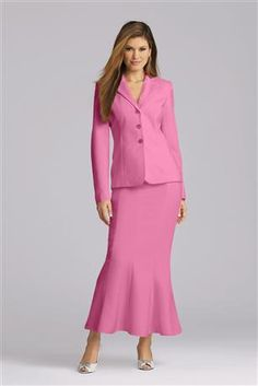 Modest women's business suit below the knee skirt flared from Metrostyle website.