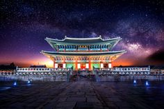 Gyeongbokgung palace and Milky Way in Seoul, South Korea. by tawatchai prakobkit