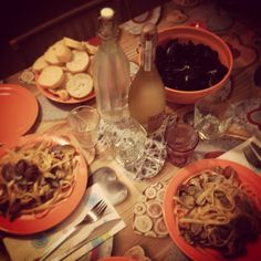 Mussels, clams linguine and white wine, It's friday! :D
