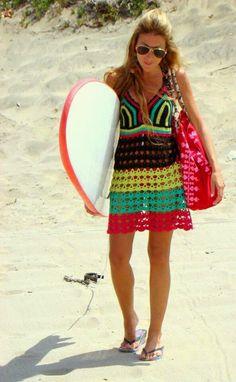 Captivating Crochet a Bodycon Dress Top Ideas. Dazzling Crochet a Bodycon Dress Top Ideas. Bikini Crochet, Crochet Beach Dress, Black Crochet Dress, Crochet Dresses, Knit Skirt, Knit Dress, Crochet Hippie, Moda Boho, Summer Knitting