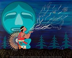 """""""Humbled by our Teachings"""" By Loretta Gould, Mik'mak artist. Native American Men, American Indians, American Art, Native American Paintings, Animal Medicine, Indian Tribes, Indigenous Art, Visionary Art, Native Art"""
