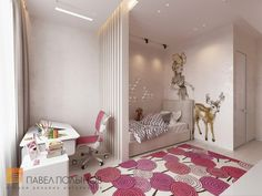 Фото: Детская для девочки - Интерьер квартиры в современном стиле, ЖК «Московский квартал», 130 кв.м.