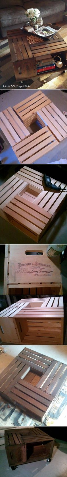 DIY storage coffee table out of wine crates.