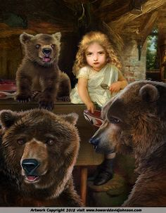 The Fairy Tale Art of Howard David Johnson; Contemporary fairy tale and story book illustrations. Fairy Tales For Kids, Grimm Fairy Tales, Nursery Rhyme Characters, Bear Illustration, Botanical Illustration, Goldilocks And The Three Bears, Bear Pictures, Fairytale Art, Kids Story Books