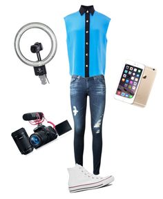 """Filming a YouTube video"" by treasure-marie ❤ liked on Polyvore featuring AG Adriano Goldschmied, FAUSTO PUGLISI, Converse and Eos"