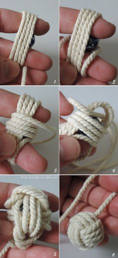 """making a """"Monkey's Fist"""" for Macrame."""