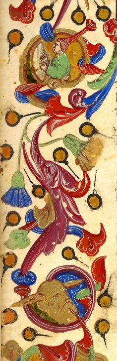 Margins with foliate ornament, inhabited by men; birds; and hybrid men, including one wearing pointed hat   Libro degli uomini famosi   Italy, Venice   ca. 1405   The Morgan Library & Museum