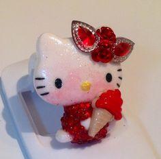 Ice Cream Red Hello Casting Kitty Resin Cabochon Deco Den DIY | evezbeadz - Jewelry on ArtFire