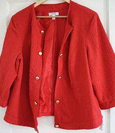 769401651cf21 Women s Plus Size 2X Coral Orange Blazer Jacket Gold Buttons NWT Dress Barn